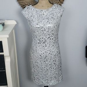 Adrianna Papell silver sequin dress size 2
